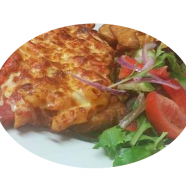 Chicken Parmigiana with chips and salad