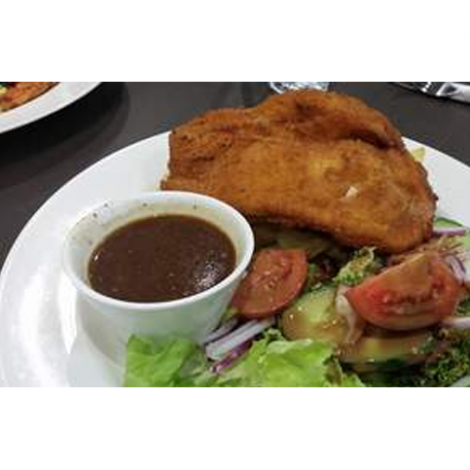 Chicken Schnitzel with Vegetables and Mash